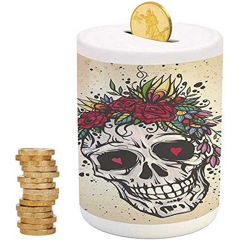 iPrint Sugar Skull Decor,Ceramic Coin Bank,Top Slot Porcelain Nursery Décor Baby Bank,Human Skull with Wreath of Roses and Wild Flowers Hearts Boho Chic Design