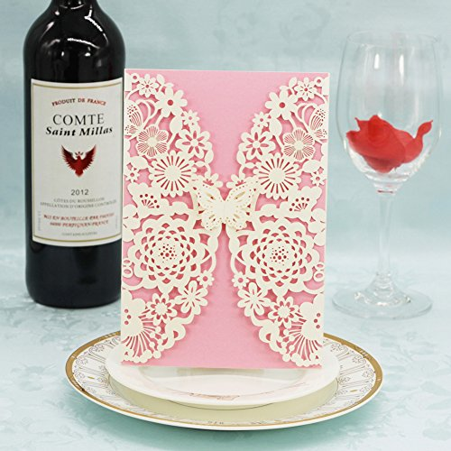 Laser Cut Invitations 40 Pack, FOMTOR Butterfly Laser Cutting Invitation Card Kit with Blank Printable Paper and Envelopes for Wedding,Birthday Parties,Baby Shower,Graduation (White+Pink)