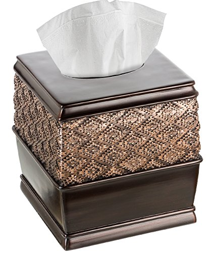 "Creative Scents Dublin Square Tissue Box Cover (6"" x 6"" x 6.2"" H) Decorative Bathroom Tissues Paper Holder, Modern Napkins Container, for Cute Elegant Bathroom Decor (Brown)"