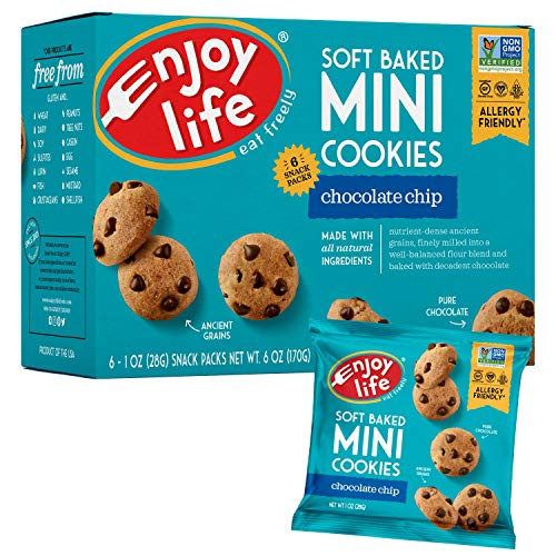 Enjoy Life Soft Baked Mini Cookies, Soy free, Nut free, Gluten free, Dairy free, Non GMO, Vegan, Chocolate Chip, 1 Ounce (6 count of Pack of 6)