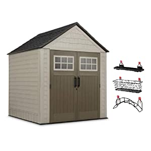 Rubbermaid 7' x 7' Big Max Storage Shed with Utility & Handle Hook & Accessories