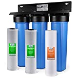 iSpring WKB32B 3-Stage Whole House Water Filtration System w/20 Big Blue Sediment and Carbon Block Filters