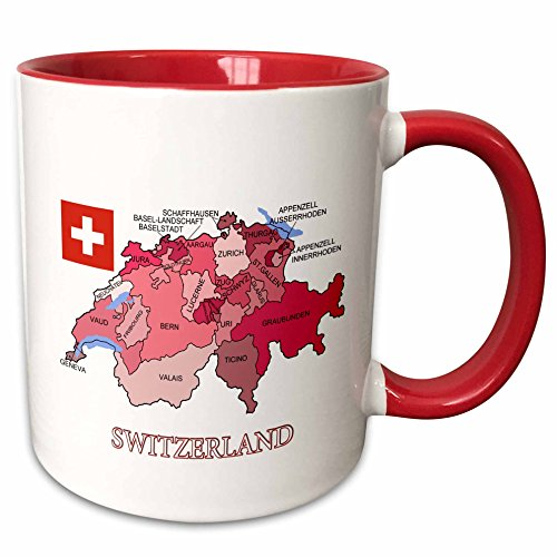 3dRose mug_186862_5 Flag And Map Of Switzerland Showing The Cantons In Different Colors Two Tone Mug, Red, 11 (Flag Colors Coffee Mugs)