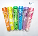 These 6 bath test tubes are each filled with different colored bath confetti or bath beads with different scents. Each set includes one of each: red star-shaped bath confetti/pomegranate scent; orange bath beads/orange juice scent; yellow sta...