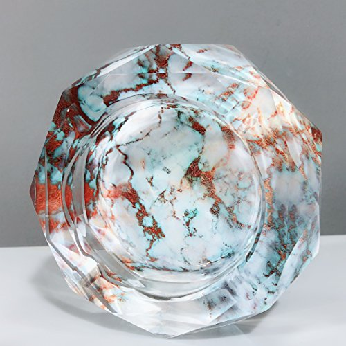 Marble Pattern Crystal Outdoors Indoors Cigarette Ashtray Ash Holder Case, Abstract Marbling Home Office Tabletop Beautiful Decoration Craft (Light Cyan) (Cigarettes Marble)