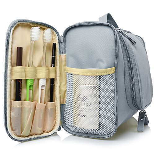 Heavy Duty Waterproof Hanging Toiletry Bag - Travel Cosmetic Makeup Bag for Women & Shaving Kit Organizer Bag for Men - Large Size: 10.2 x 4.5 x 8.5 Inch (Grey)
