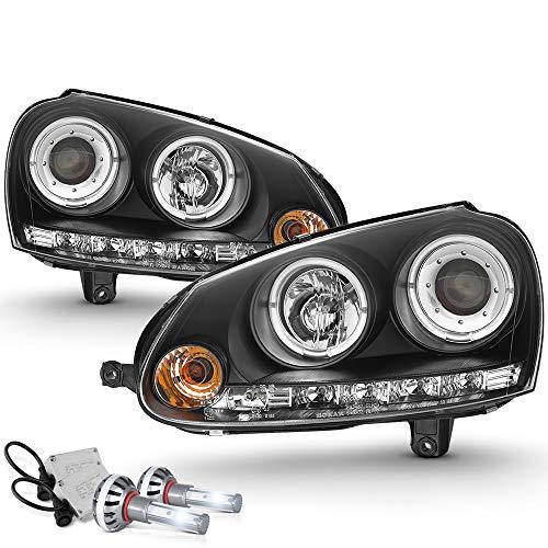 VIPMOTOZ LED Halo Ring Black Projector Headlight Lamp Assembly For 2006-2009 Volkswagen MK5 VW Rabbit Jetta GTI Halogen Model - Built-In CSP LED Low Beam, Driver & Passenger ()