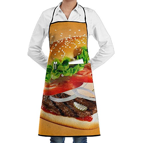 Delicious Burger Food Apron Lace Adult Mens Womens Chef Adjustable Polyester Long Full Black Cooking Kitchen Aprons Bib With Pockets For Restaurant Baking Crafting Gardening BBQ Grill