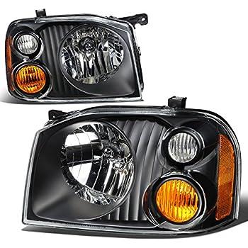 For Nissan Frontier D22 1st Gen Pair of Black Housing Amber Corner Headlights Lamp