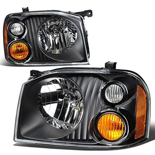 For Nissan Frontier D22 1st Gen Pair of Black Housing Amber Corner Headlights (Black Headlights Corner)