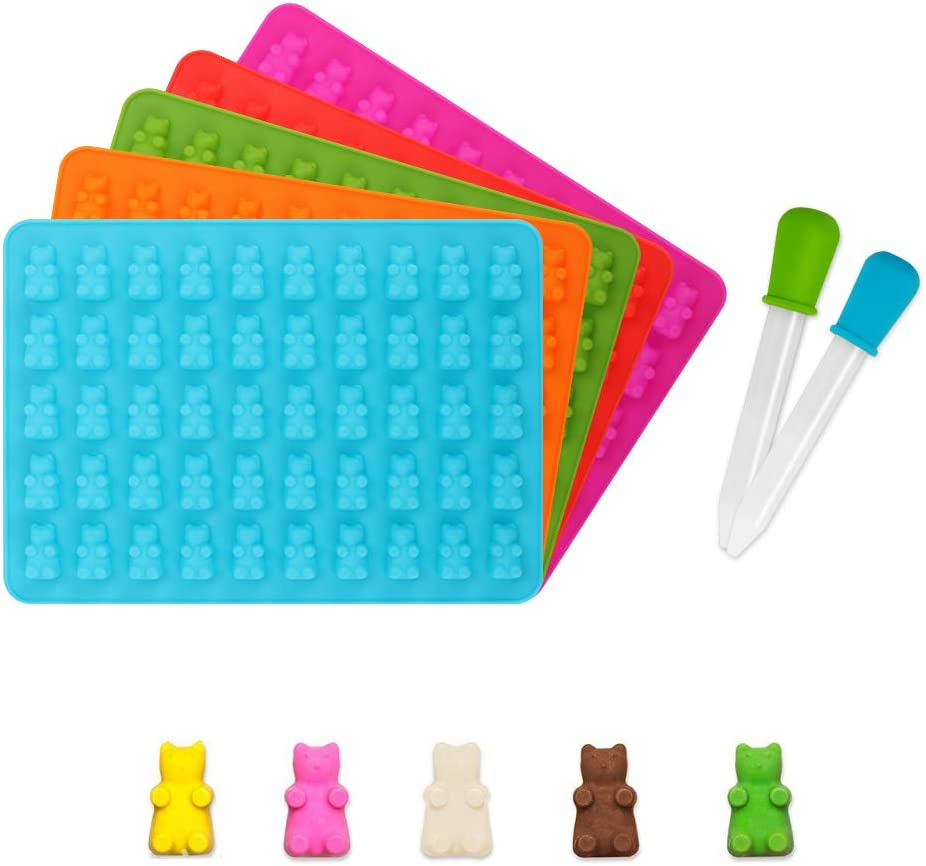 50 Cavities per Tray Chocolate 5 Pack Gummy Bear Mold Ice Cube Trays yidenguk Silicone Candy Moulds Flavored Ice Cookie Jelly Gumdrop Jelly Molds with 5 Dropper for DIY Candy