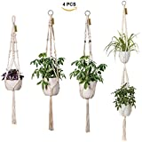 #5: TimeYard Macrame Plant Hangers - 4 Pack, in Different Designs - Handmade Indoor Hanging Planter Plant Holder - Modern Boho Home Decor