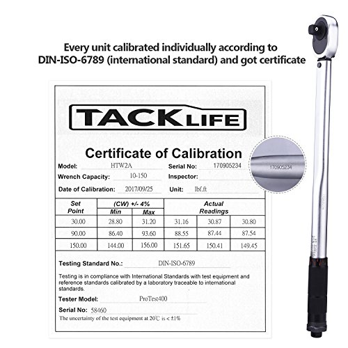 "TACKLIFE 1/2"" Drive Click Torque Wrench Set,With 3/8"" Adapter And An Extension Bar (10-150 ft.-lb./13.6-203.5Nm) - HTW2A"