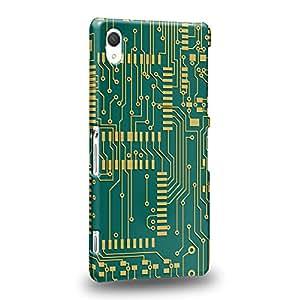 Case88 Premium Designs Art Printed Green Standard Circuit Board Carcasa/Funda dura para el Sony Xperia Z2 (No Z2 Compact !)