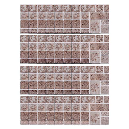 """CozyCabin 36 Units Peel and Stick Backsplash Tile Stickers 3.9"""" x 3.9"""", Frosted Decorative Adhesive Wall Decals, Murals for Kitchen, Bathroom, Home Decor, Staircase (Square Flower)."""