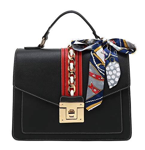 Scarleton Large Top Handle Satchel Handbag for Women, Black, H206501