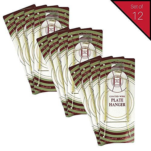 Wall Brass Hanger Set (Banberry Designs Brass Vinyl Coated Plate Hanger 10 to 14 Inch - Set of 12 Pcs - Clear Vinyl Sleeves Protect the Plate - Hook and Nail Included)