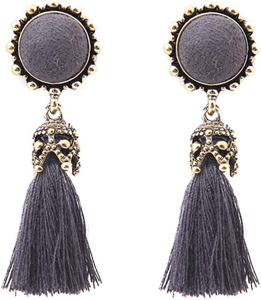 LANTAI Antique Metal Tassel Dangle Earrings with Grey Crystal for Women Girls Silver