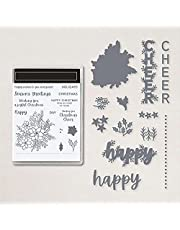 Christmas Leaf Flowers Happy Cheer Alpahbets Dies and Stamps for Card Making DIY Scrapbooking Wishing You a Joyful Christmas,Hoildays Words Clear Rubber Stamp for Paper Crafting Metal Cutting Dies