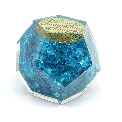 Aquamarine Orgone Dodecahedron for EMF protection-Energy generator Crystal