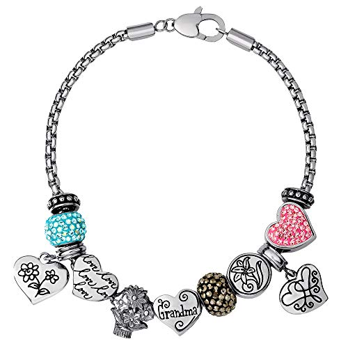Connections from Hallmark Grandma Stainless Steel Charm and Bead Bundle Bracelet, 8.25'
