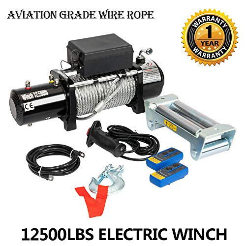 12500lbs 12V Electric Winch fit for Trailer Truck SUV ATV UTV Boat with 2 Wireless Remote Control