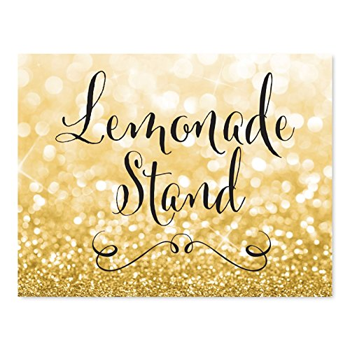 Andaz Press Wedding Party Signs, Glitzy Gold Glitter, 8.5x11-inch, Lemonade Stand Reception Dessert Table Sign, 1-Pack ()