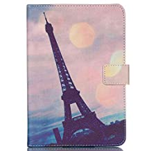 Jenny Shop Universal 7 Inch Blue Pink Flower Pu Leather Case For RCA 7 Inch Tablet,ProntoTec 7 Inch ,Google Nexus 7,NeuTab I7/ X7 7,LG G Pad 7.0 case,blackberry playbook 7-inch tablet (Eiffel Tower)