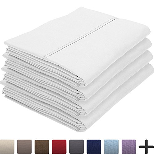 Price comparison product image Bare Home 4 Pillowcases - Premium 1800 Ultra-Soft Collection - Bulk Pack - Double Brushed - Hypoallergenic - Wrinkle Resistant - Easy Care (Standard - 4 Pack, White)