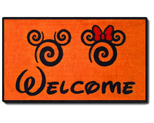 J.Ehonace Mickey Minnie Mouse Rugs – Bathroom Rug, Indoor Outdoor Entrance Rug, Kitchen Rug, 17″ x 30″ (Welcome)
