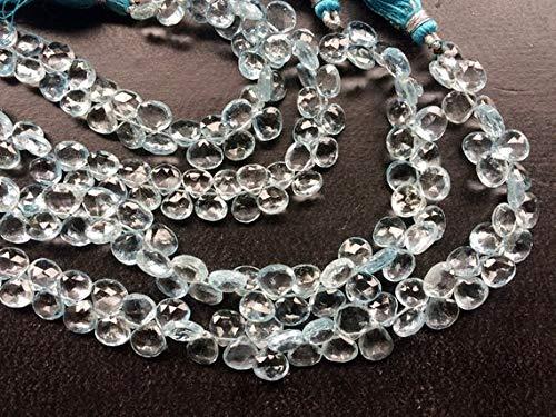 GemAbyss Beads Gemstone 1 Strand Natural Blue Topaz Faceted Heart Briolettes, Original Blue Topaz Necklace, 7mm, 8 Inch Code-MVG-19314