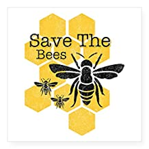 """CafePress - Honeycomb Save The Bees Square Sticker 3"""" X 3 - Square Bumper Sticker Car Decal, 3""""x3"""" (Small) or 5""""x5"""" (Large)"""