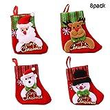 RM-Xmas Length 6.3'' 8 Pack Christmas Stocking Holiday Candy Bag Reindeer Santa Snowman Bear 3D Gift Bag Merry Christmas Letter Tree Ornament Decor