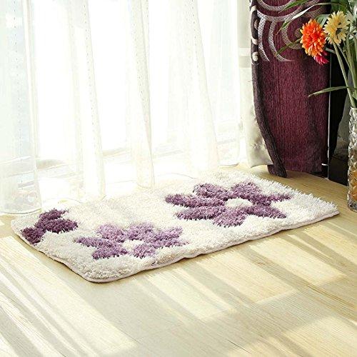 DaringOne Shabby Chic Country Cottage Garden,Non Slip Kitchen Accent Area Rug Runner Floral Hallway Bathroom Runner Absorbent Kitchen Mat Doormat Lavender Purple 19''x31''