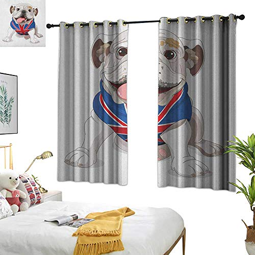Blue Curtains English Bulldog,Happy Dog Wearing a Union Jack Vest Cartoon Style Animal Design, Cream Navy Blue Red 84