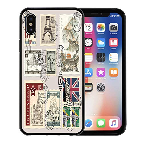 Semtomn Phone Case for Apple iPhone Xs case,Post Postage Stamps Vintage Paris Postal Letter Old for iPhone X Case,Rubber Border Protective - Postal Stamps Old