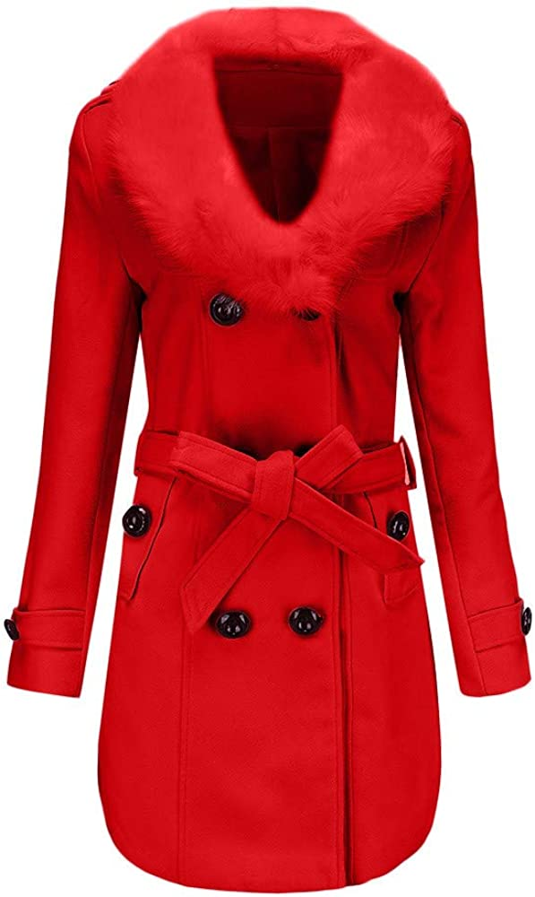 MIRRAY Womens Woolen Overcoat Ladies Winter Warm Coats Woman Double-Breasted Trench Solid Jackets Outdoor Long Sleeve Outwear Slim Outerwear with Pockets XXXXXL
