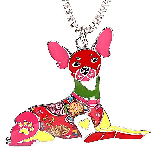 Rat Terrier Keychain Jewelry for Women Cute Enamel Pet Dog Pendants Necklace Box Gifts-Red