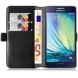Galaxy A5 (2015) Case, JAMMYLIZARD Luxury Edition Leather Wallet Flip Cover for Samsung Galaxy A5 (2015), Black