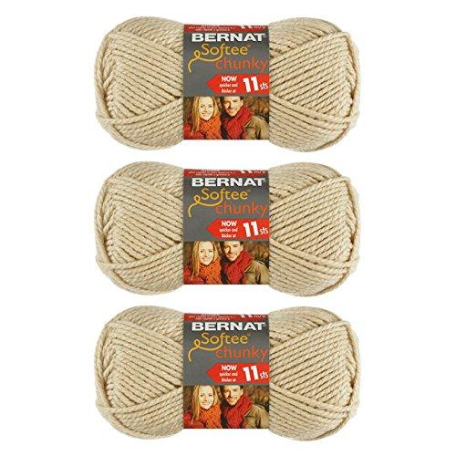 Bernat Softee Chunky Yarn (3 Ball Pack), Linen, 3 Piece