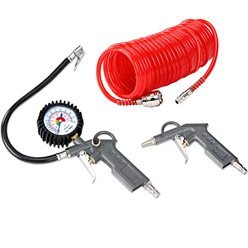 Air Compressor Accessories Tool Kit - Blow Gun Pressure Gauge Spiral Hose Tube 115PSI Tyre Inflator