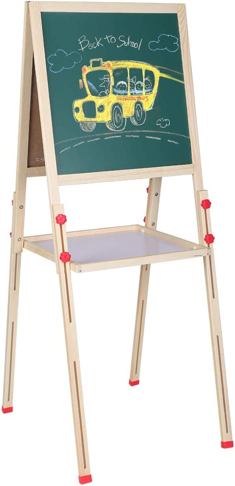 tableau magn/étique /à double face AYNEFY Double chevalet en bois pour enfants chevalet pour enfants avec support r/églable effa/çable avec jouets /éducatifs