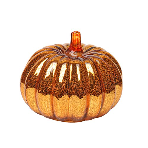 Mercury Glass Lighted Pumpkin with Timer for Fall Decor, Halloween Lantern,Orange,5.5 inches