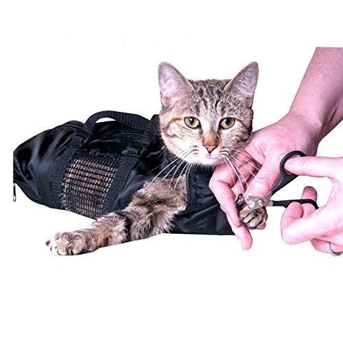 Joint Cat Grooming Bag Pet Bathing Restraint Bag Fit Cats 10-15Lbs for Claw Nail Trimming