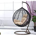 Outdoor Rattan Hanging Basket Chair with Soft Cushion