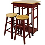 NEW 3 Piece Kitchen Island With Wooden Top U0026 Stool Set (Red)