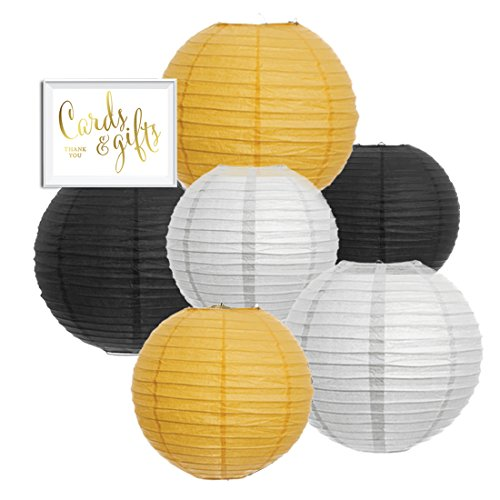 Andaz Press Hanging Paper Lanterns Party Decor Trio Kit with Free Party Sign, Black, Yellow, White, 6-Pack, For Bumblebee Bee Gender Reveal Baby Shower Decorations