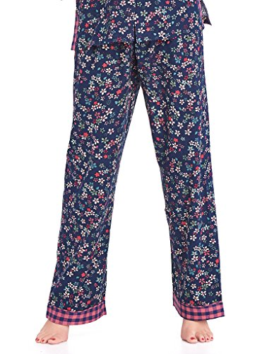 Mio Lounge Bobbie Pink and Blue Floral Check Soft Brushed Cotton Pyjama Set PJs ML16C6PJ