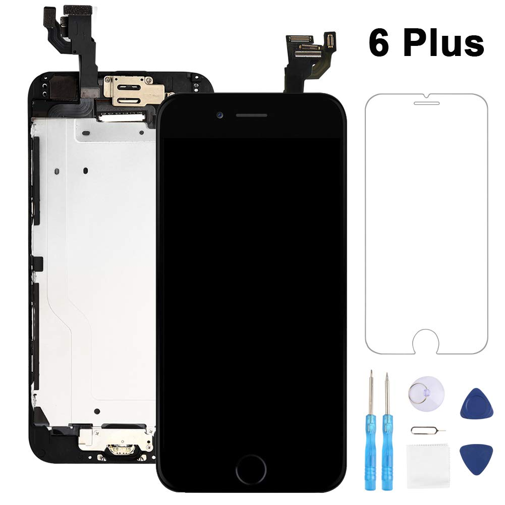 Full Assembly for iPhone 6 Plus Screen Replacement Black LCD Touch Digitizer Display with Front Camera,Ear Speaker,Facing Proximity Sensor with Home Button,Repair Tools by Fix4U