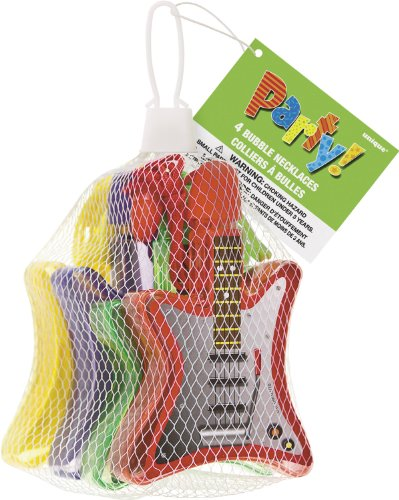 Guitar-Shaped Bubble Necklace Party Favors, 4ct (Rock Star Halloween Costume Ideas For Kids)